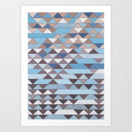 Triangle Pattern No.6 Crisp Blue Art Print