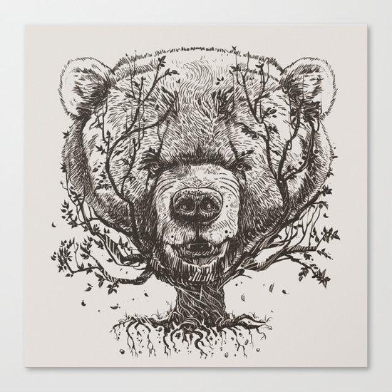 Bear n Tree Canvas Print