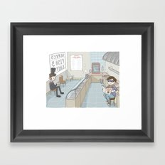 Hanging at the fish and chip shop Framed Art Print