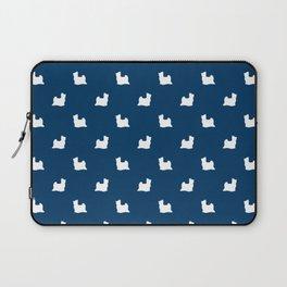 Biewer Terrier silhouette minimal dog breed art pattern dog lover terriers navy Laptop Sleeve