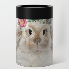 Spring Bunny with Floral Crown Can Cooler
