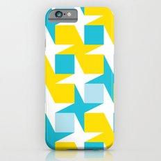 Orange & turquoise blue stars & squares geometric pattern Slim Case iPhone 6s