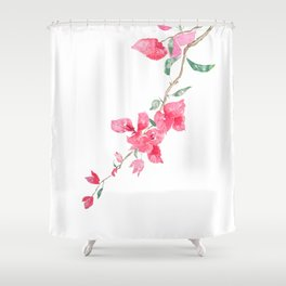 red  pink  bougainvillea watercolor Shower Curtain