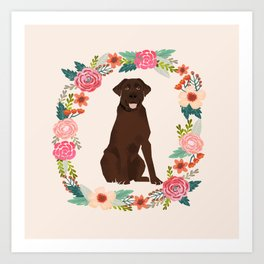chocolate lab floral wreath flowers dog breed gifts labrador retriever Art Print