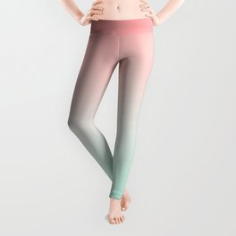 Ombre gradient digital illustration coral green colors Leggings