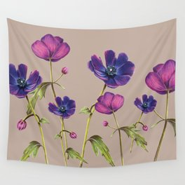 Anemone floral illustration suede Wall Tapestry