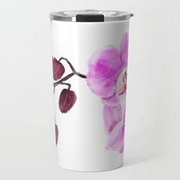 pink orchid flower watercolor painting Travel Mug