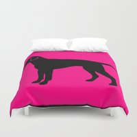 lab Duvet Covers featuring lab silhouette by Vintage Fox