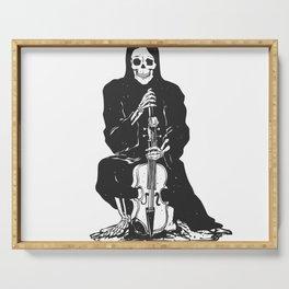 Violinist skull - grim reaper - cartoon skeleton - halloween illustration Serving Tray