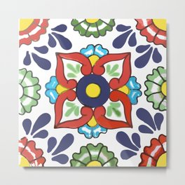 Talavera Mexican Green Floral Metal Print