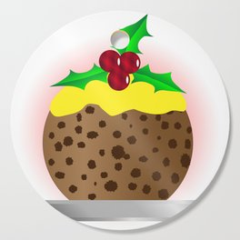 Christmas Pudding With Custard And Holly Sprig Cutting Board