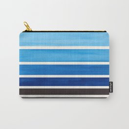 Prussian Blue Minimalist Watercolor Mid Century Staggered Stripes Rothko Color Block Geometric Art Carry-All Pouch
