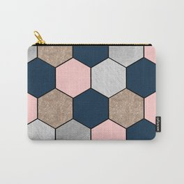 Navy and peach marble and foil hexagons Carry-All Pouch
