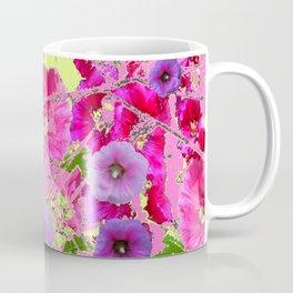 CONTEMPORARY PINK & LILAC HOLLYHOCKS ART Coffee Mug