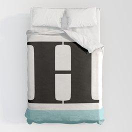 Monogram Letter H-Pantone-Limpet Shell Duvet Cover