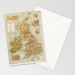 Vintage Map of Great Britain and Ireland, 1947 Stationery Cards