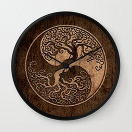 Rough Wood Grain Effect Tree of Life Yin Yang Wall Clock