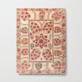 Bokhara Suzani Uzbekistan Floral Embroidery Print Metal Print