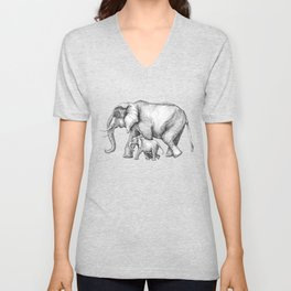Elephant Momma and Baby Tag-a-long Unisex V-Neck