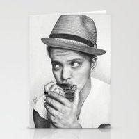 bruno mars Stationery Cards featuring Bruno Mars by Pritish Bali