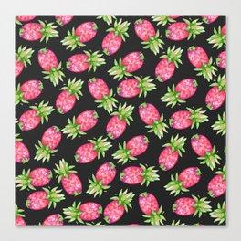 Hot pink green black tropical watercolor pineapple fruit Canvas Print