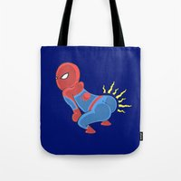 booty Tote Bags featuring Spidey Booty by Pengew