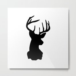 Black & White Stag Head Metal Print