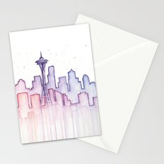 Seattle Skyline Watercolor Stationery Cards