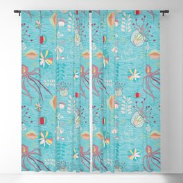 Sea Creatures Swimming in the Ocean Blue Blackout Curtain