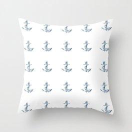 Nautical Seafarer Anchor Retro Seamless Pattern Throw Pillow