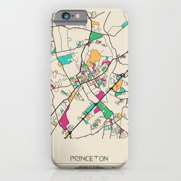 Colorful City Maps: Princeton, New Jersey iPhone Case
