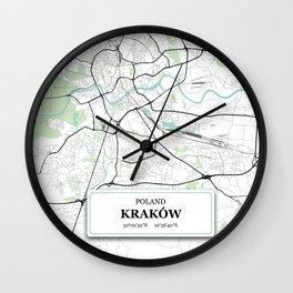 Krakow Poland City Map with GPS Coordinates Wall Clock