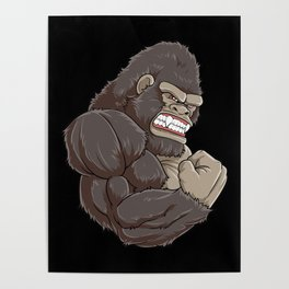 Gorilla At The Gym   Fitness Training Muscles Poster