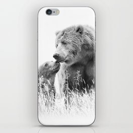Grizzly Bear And Cub - B&W Wildlife Photography iPhone Skin