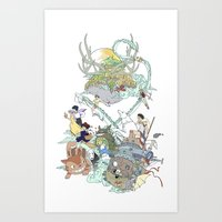 ghibli Art Prints featuring Ghibli by Alba Palacio
