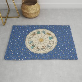 Vintage Astrology Zodiac Wheel Rug