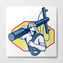 Power Lineman Repairman Carry Electric Pole Metal Print