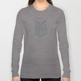 Geometric Blue Wolf Long Sleeve T-shirt