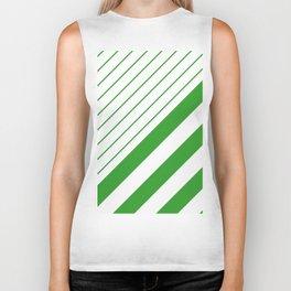 Green And White Stripes Pattern Biker Tank