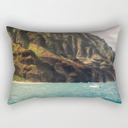 Na Pali Coast Kauai Hawaii Printable Wall Art | Tropical Beach Nature Ocean Coastal Travel Photography Print Rectangular Pillow
