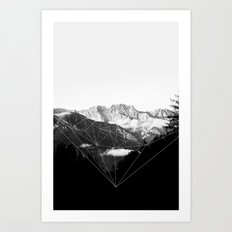 Crystal Mountain (black) Art Print