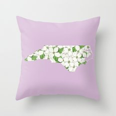 North Carolina in Flowers Throw Pillow