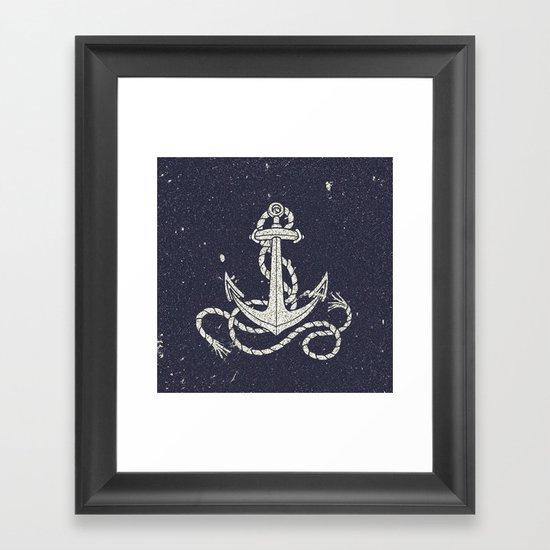 Navy Blue Nautical White Anchor for Sailor Texture Framed Art Print