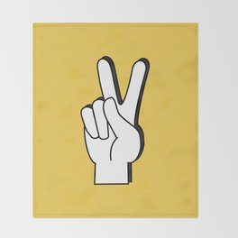 Peace Sign yellow Throw Blanket
