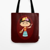 frida kahlo Tote Bags featuring Frida Kahlo by Sombras Blancas Art & Design