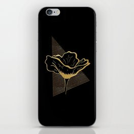 Black and Gold Poppy Flower over line triangle iPhone Skin