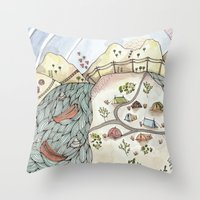 camp Throw Pillows featuring Desert Camp by Brooke Weeber