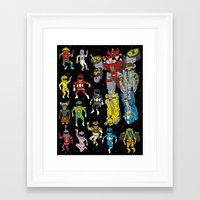 power rangers Framed Art Prints featuring Mighty Melty Power Rangers by Josh Ln