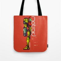 metroid Tote Bags featuring Metroid by Slippytee Clothing