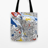 portland Tote Bags featuring Portland by Mondrian Maps